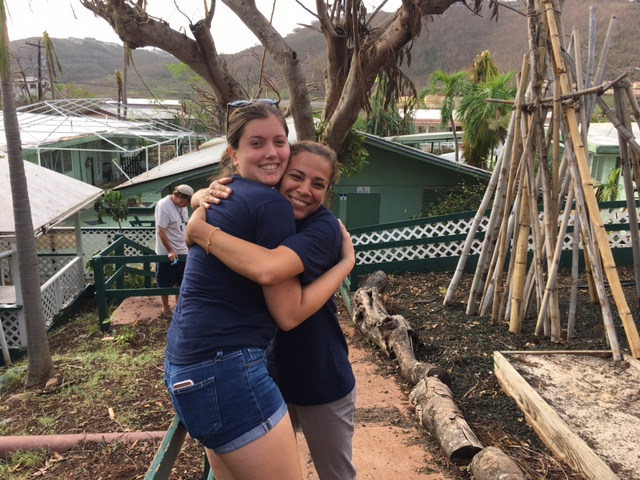 Karen and Ms. Pass - so happy to see each other after the hurricane.