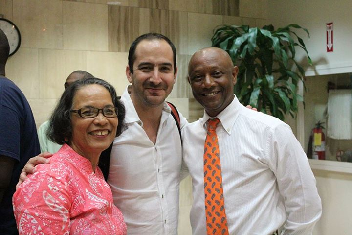 Pam with IDB presenter on 'The Orange Economy', Felipe Buitrago Restrapo (centre) and Antonius Roberts following the presentations