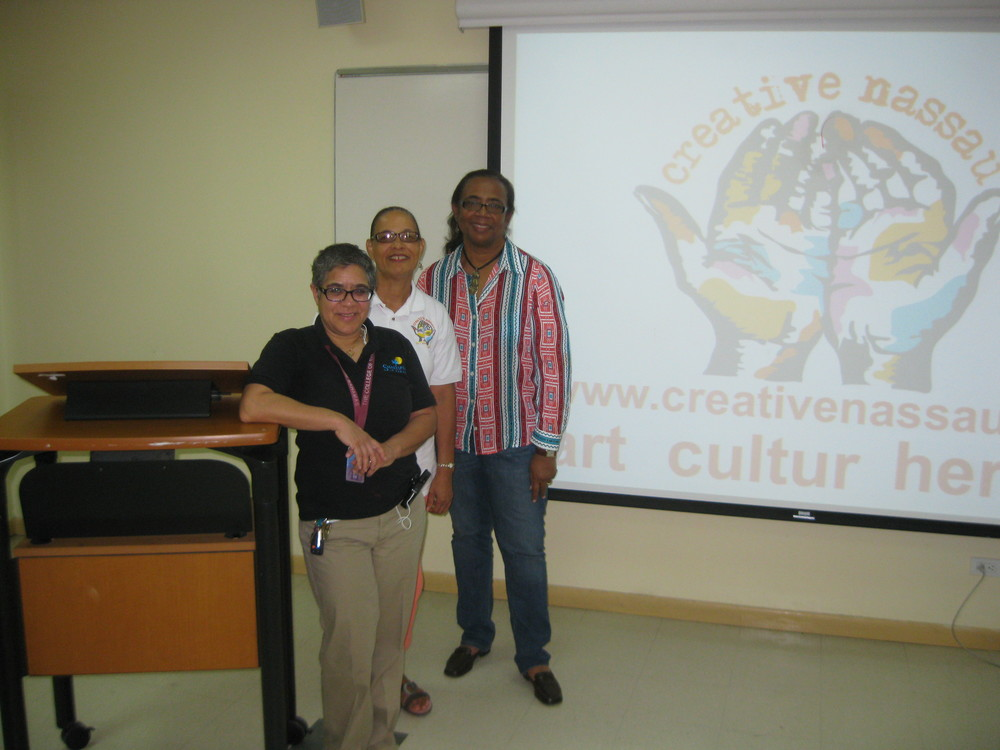 College of The Bahamas Professor, Dr Nicolette Bethel (front) with CN Members Pam and Patti