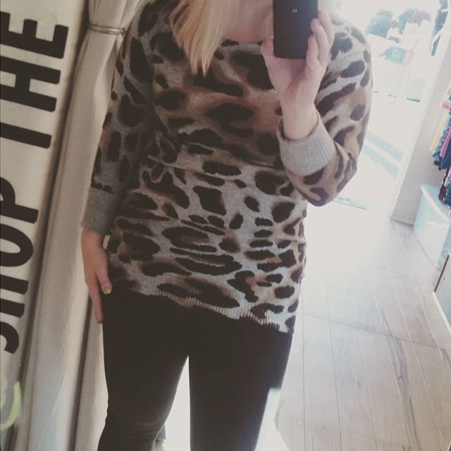 #animalistic vibes in #shoptherunaway today @licflea Swing by #sayhello and shop this sweater #LICshopping #LICFlea #Shopping #womensclothing #fashion #SweaterWeather #fashionbloggers