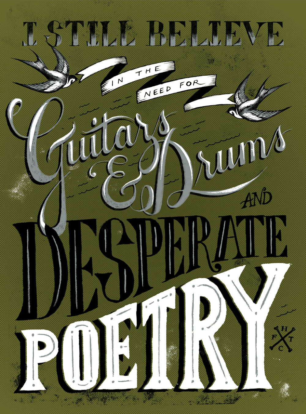 lettering poster lyric script music
