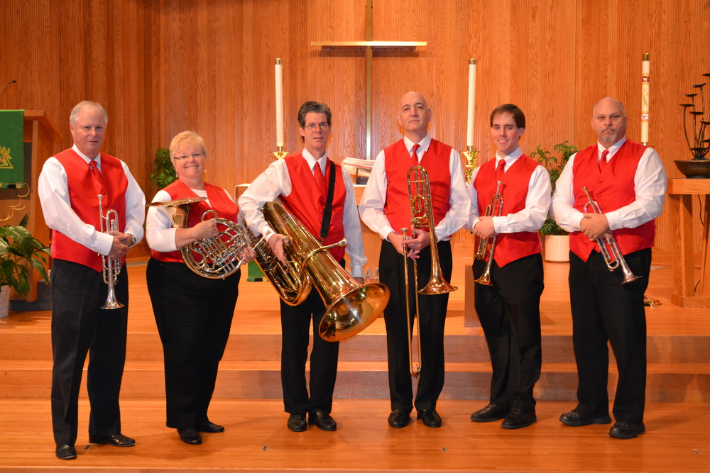 Performers (from left): Gary Dowty, Trumpet, Kathy Gentes, French Horn, Chip Blanding, Tuba, Mark Hastings, Trombone, David Barton, Trumpet, Dan Spees, Trumpet, Andy Briggs, Trombone (not pictured)