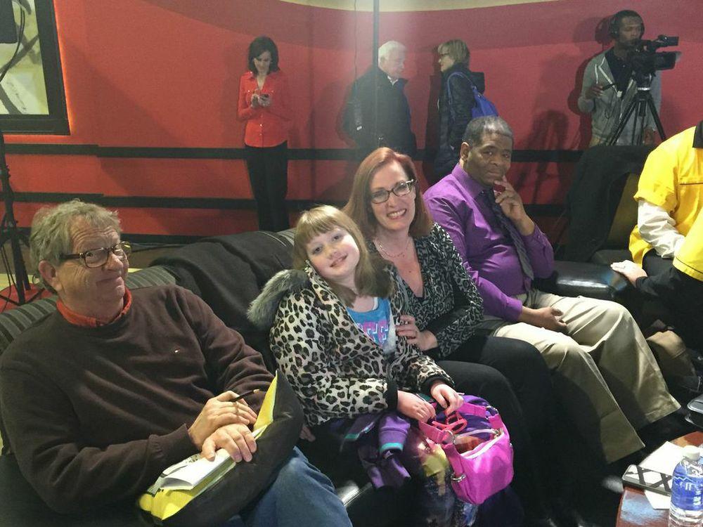 "Jim ""White Fang"" Ochs, Rebekka Rhodes & her daughter Jordan, and James ""The Walking Man"" Robertson."