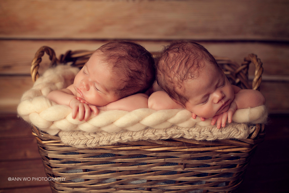 newborn photographer session visit - identical twin sisters, using big basket