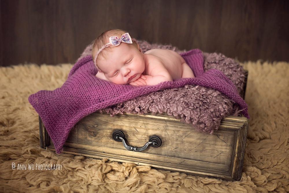 sleeping newborn photography berkshire uk vintage shelf