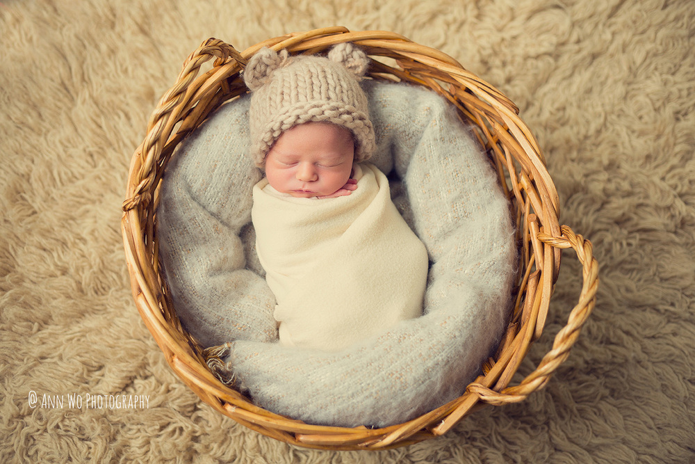 baby photographer london ann wo basket flokati bear hat wrapped newborn