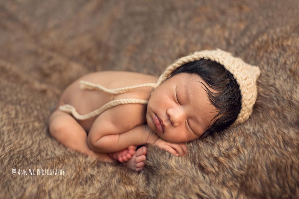 baby boy beige pixie hat brown fur throw