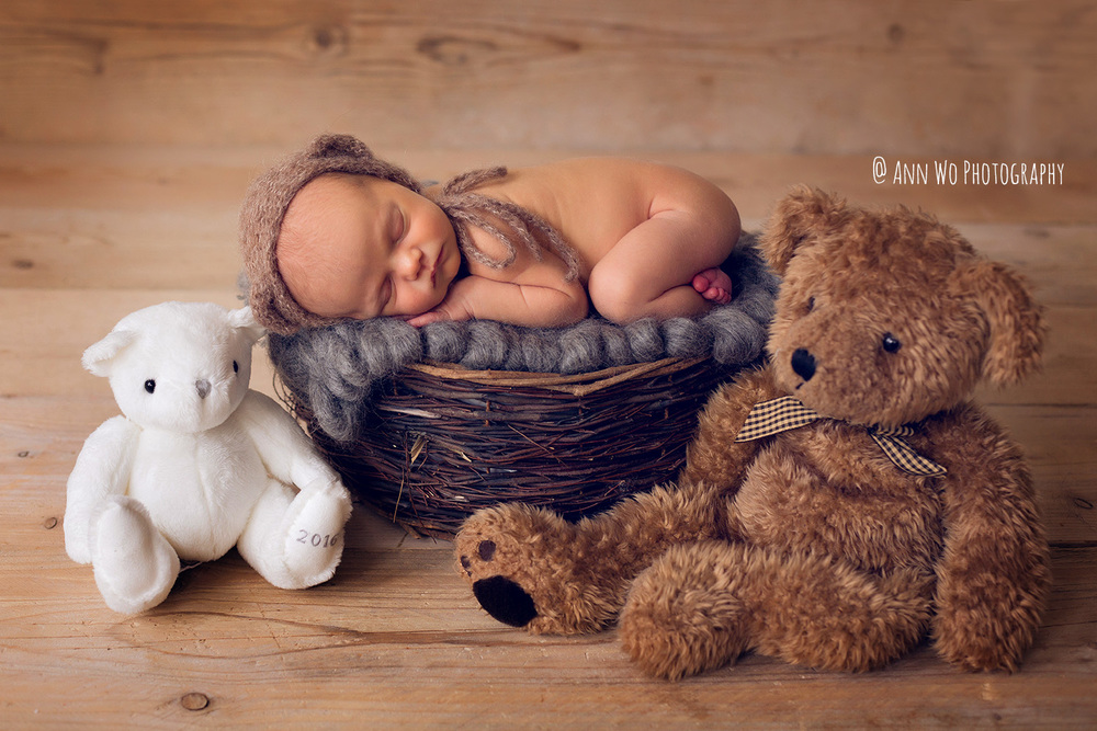 Newborn photography in London by Ann Wo teddy bears and twig basket