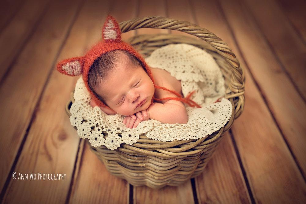 newborn sleeping in a basket fox hat in London Ann Wo