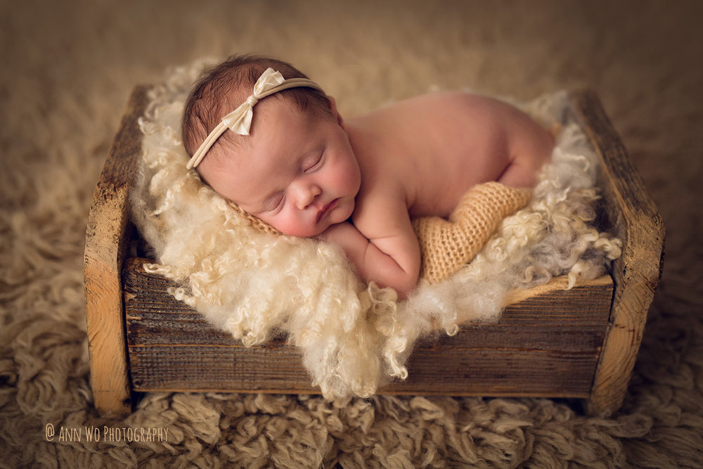 Newborn photography by ann wo using rustic wooden bed