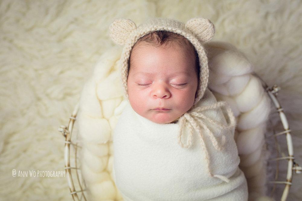 Newborn photography - baby wrapped in a wire basket wearing bear hat - Ann Wo - London