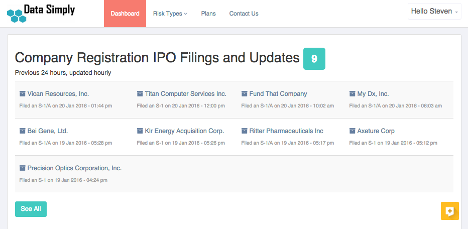 Log into your dashboard at any time to see IPO filings which are updated hourly. Click through to see the actual filings at the SEC. You can also see historical filings.