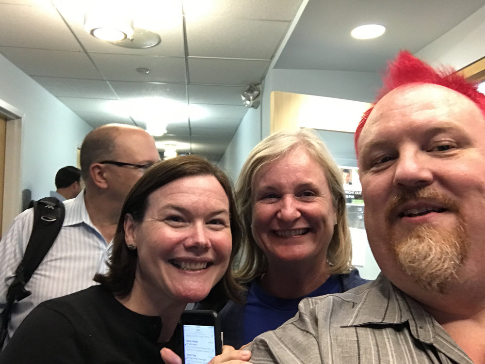 Here is John Sawers from Data Simply running into our good friends Sarah Biller (co-founder, FinTechSandbox, on left) and Jean Donnelly (Executive Director, FinTechSandbox, in middle) who also served as fintech experts and held office hours at the event.