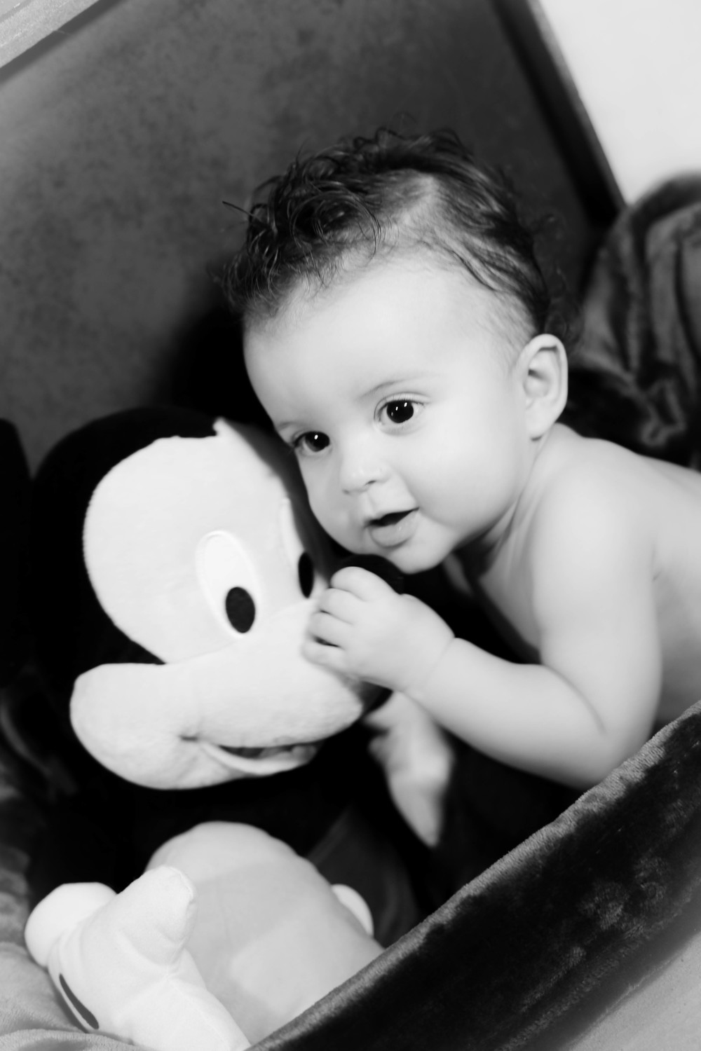 Mickey had to be close by most of the time to keep Liam from trying to escape from the camera.