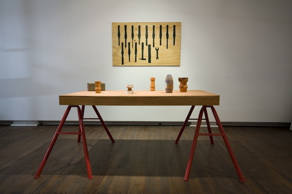 Shadow Board Iand Table with Objects, 2008 Installation view, Chalk Horse, Sydney Photo: Silversalt