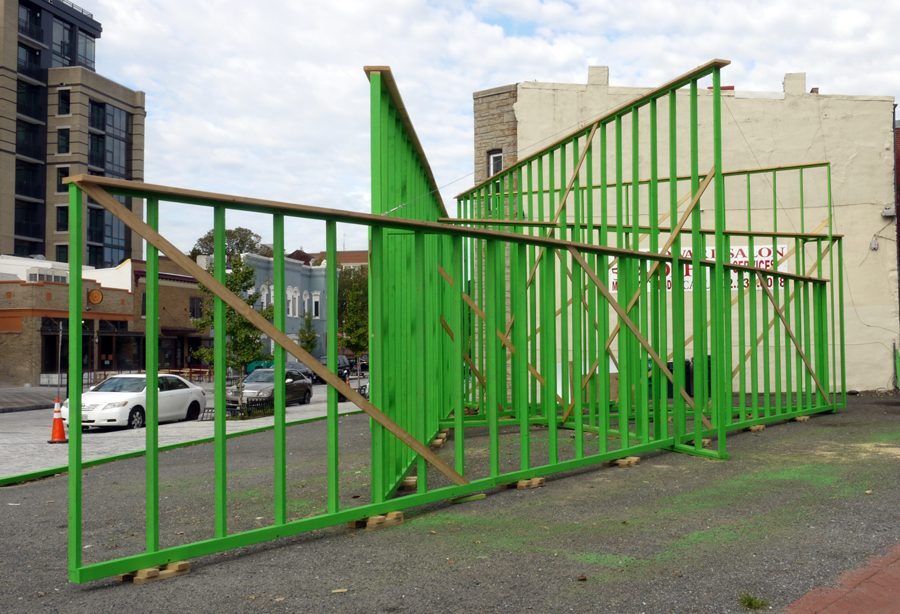 "Construction (T Street NW), 2014 2 x 4"" timber, fixings, ChromaKey paint 60' x 30' x 16' 5x5 Project, (HomeLand) curated by Justine Topfer"