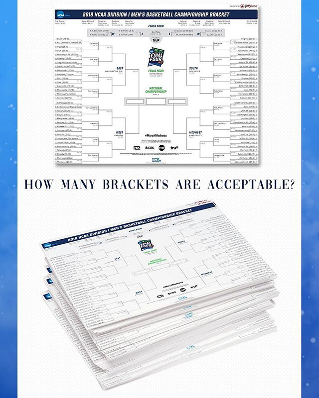 Answer: Nvr too many when it's for a good cause! 🗄 Get in on our fundraiser bracket challenge & show us what you got. Link in bio! 🏀 ☝️ #Repost @marchmadness ・・・ The age-old question... How many #MarchMadness brackets are acceptable?