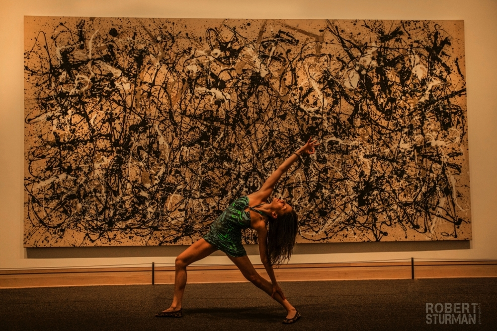 "38+)  Ashika Gogna: Pictured with Jackson Pollock's ""Autumn Rhythm"" at the Metropolitan Museum of Art, New York"