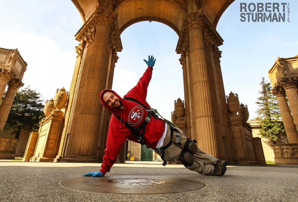 "26) I was on a shoot at the Palace of Fine Arts in San Francisco and I crossed paths with an electrician there and somehow he became the model.   His name's Ryan Jackson and he might as well be the 2016 face of my work and an appropriate image for the following passage, as I'm sure he'd never been photographed doing yoga.   What I want people to know is that even though someone might be putting out 100 pictures a month of them being ""idealistically"" beautiful, we should not get sucked into the belief that someone else is better than we are. That's one of the things I love to do in my work: I love the challenge of putting literally anyone who doesn't think that they are worthy of being celebrated or seen as a yogi, and showing them that they are completely just as good as anyone else. I think there is so much smoke and mirrors surrounding the imaging of the self, and I feel sorry and sad for people with a low self-image, something we all struggle with. People actually believe that someone else is perfect. The challenge is staying awake in this age of narcigramism. It's all perception. And this portrait of Ryan Jackson, the electrician, father, husband, cool humble guy - is everything to me."