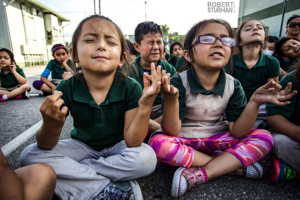 52) A great day of yoga and an impressive meditation effort in Boyle Heights - Los Angeles, California - with Uprising Yoga at Extera Public Elementary School.
