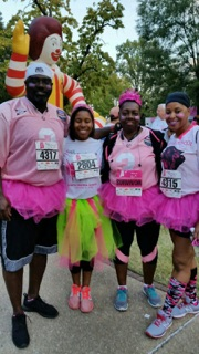Miss Black Alabama Coed Dayna Seymone with supporters participating in Central Alabama's Susan G. Komen Race for the Cure.