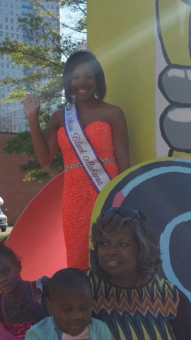 Miss Black Alabama Coed Danya Kelly participating in the Magic City Classic Parade. This parade is the largest HBCU event in the nation attracting over 200,000 people and participants.