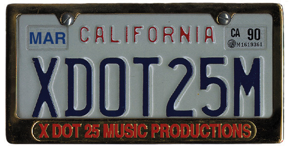 The Actual License Plate of X DOT 25 Car - MBZ Convertible (Circa 1991)