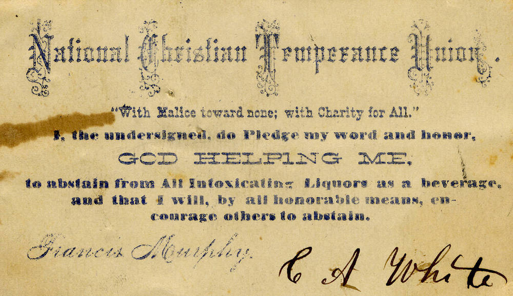 National Christian Temperance Union membership card