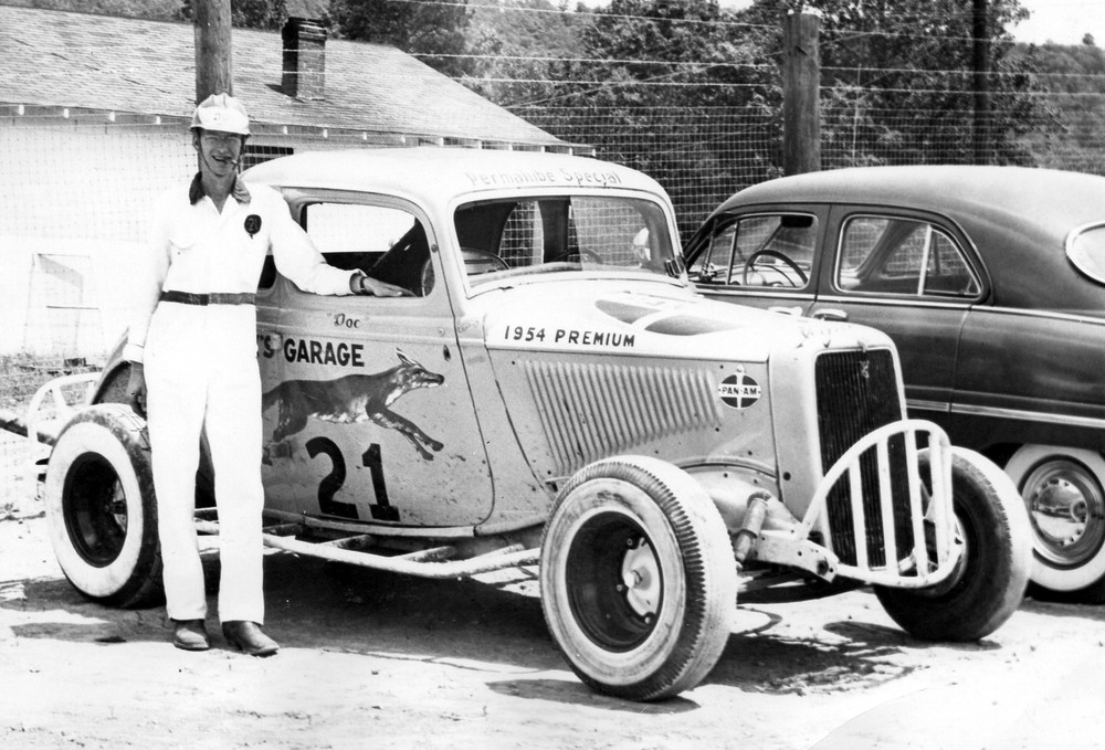 """Doc"" German at Cleveland Speedway's opening day in 1954. Dirt track racing will be the subject of the Museum Center at Points' exhibition, In the Dirt, The Fast and Dirty World of Dirt Track Racing, this summer 2014."