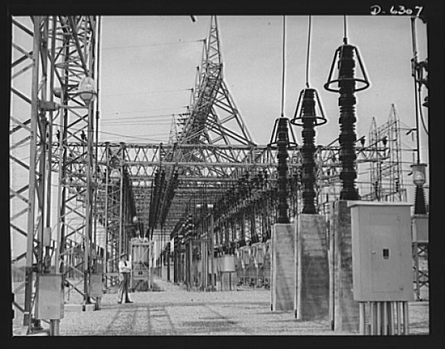 Power and conservation. Chickamauga Dam, Tennessee Valley Authority (TVA). Switchyard of the TVA's Chickamauga Dam, located near Chattanooga. Photo from Library of Congress.