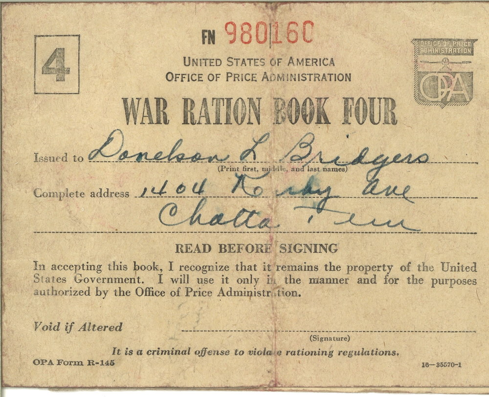 War ration booklet administered during World War I.   2009.002.001