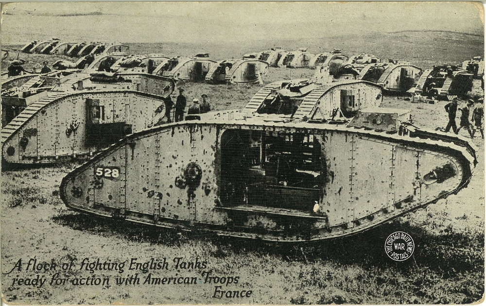 English Tanks and American soldiers readying for battle during WWI.   1999.009.009