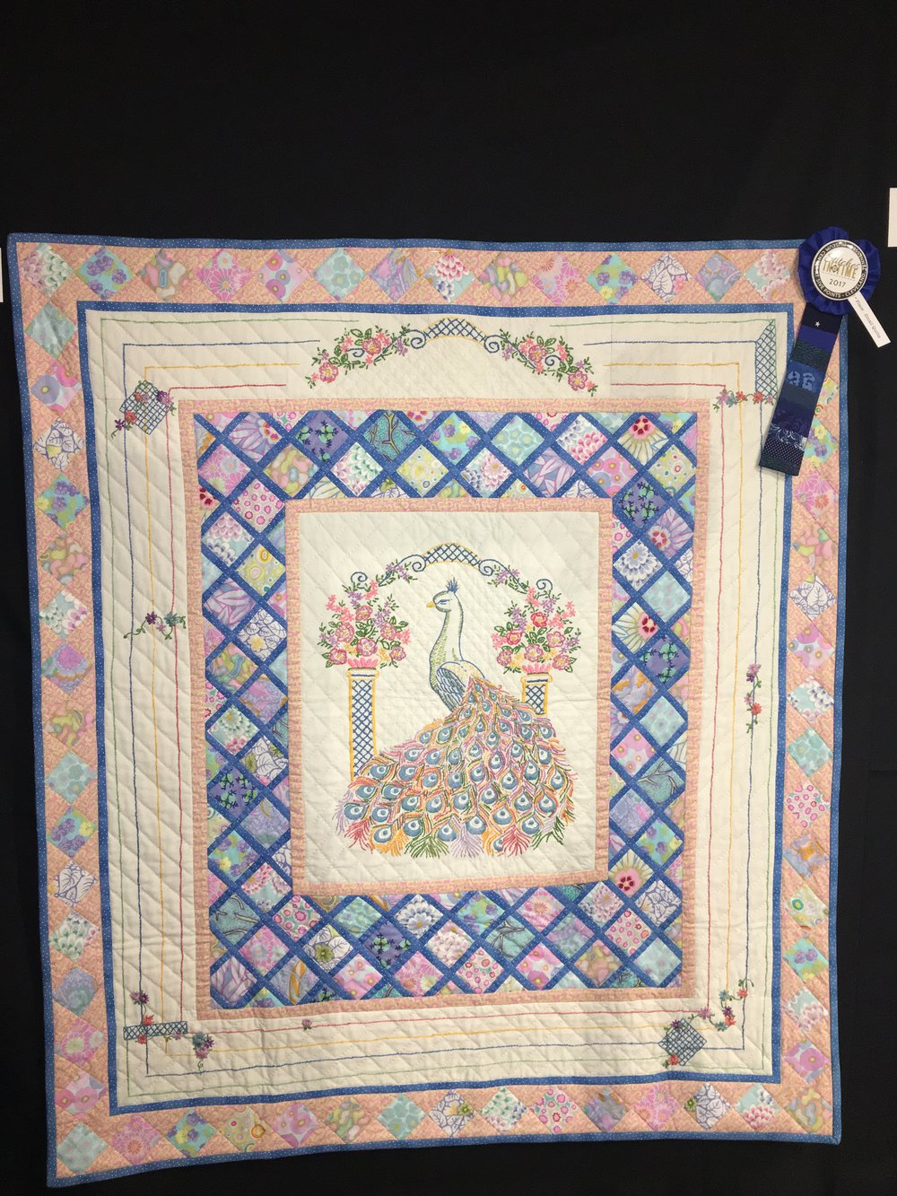 1st Place Small Quilts: Pastel Peacock entered by Phyllis Callaway