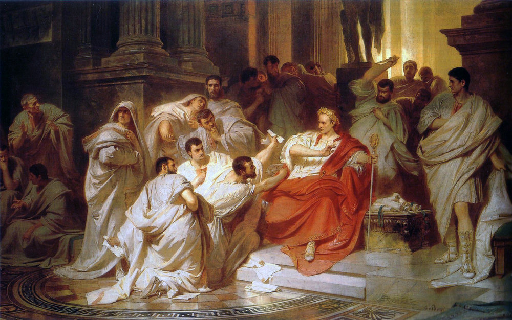 Julius Caesar and his senators