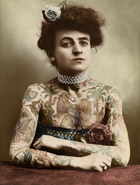 """A """"tattooed lady"""" in the early 20th century."""