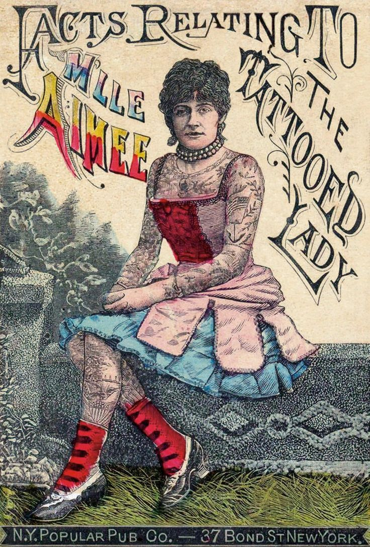 """Advertisement for a """"tattooed lady"""" in a circus sideshow."""