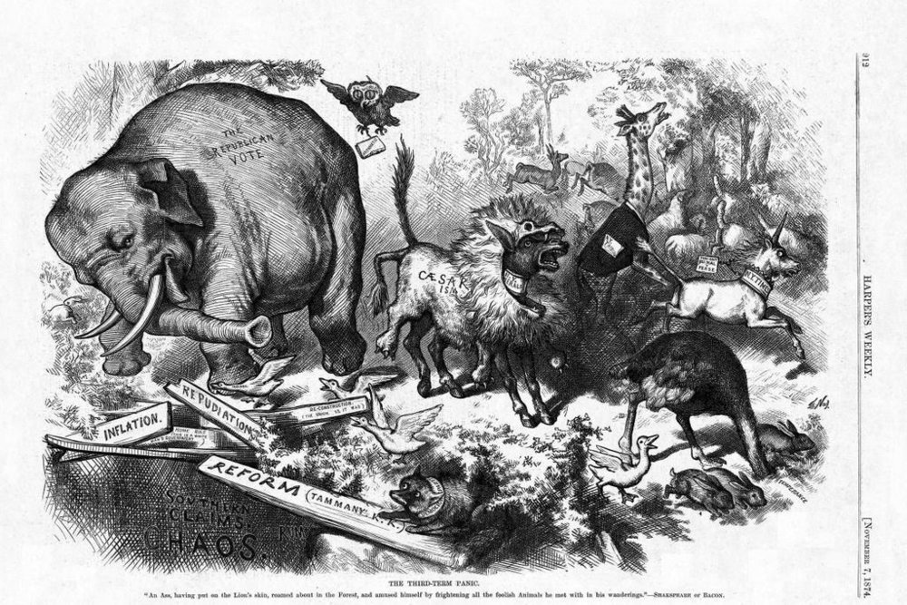 A Thomas Nast political cartoon, showing the first representation of the Republican Party as an elephant.