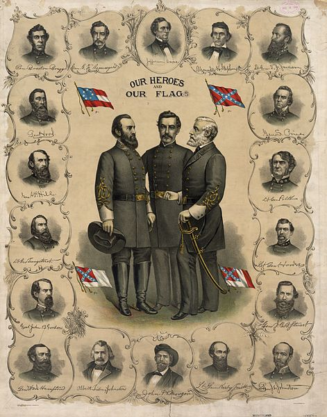 Color lithograph from 1896 showing four versions of the flag of the Confederate States of America. Standing at the center are Stonewall Jackson, P. G. T. Beauregard, and Robert E. Lee.