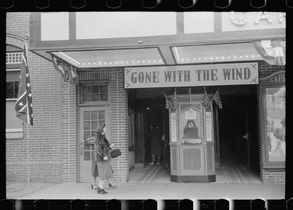 Confederate flags at a Gone with the Wind showing. 1940.