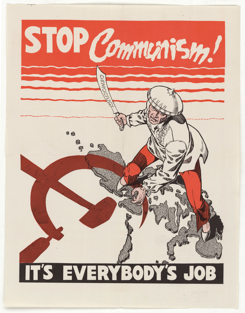 "Anti-Communist propaganda depicting a man standing on the Phillipines holding a knife that reads ""democracy."""