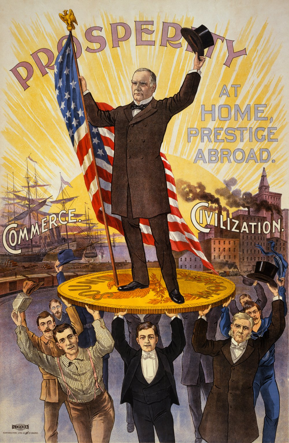 McKinley-era pro-capitalist propaganda poster, depicting the gold standard.