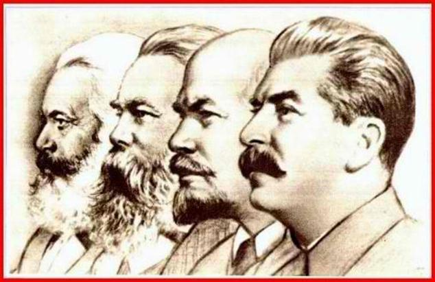 Although there were many who contributed to the philosophy of communism and socialism, this image is the most frequent seen, showing the profiles of Karl Marx, Friedrich Engels, Vladimir Lenin, and Josef Stalin.