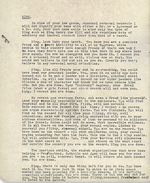 The letter sent to Martin Luther King, Jr. from the FBI, urging him to commit suicide shortly before he was set to receive the Nobel Peace Prize.