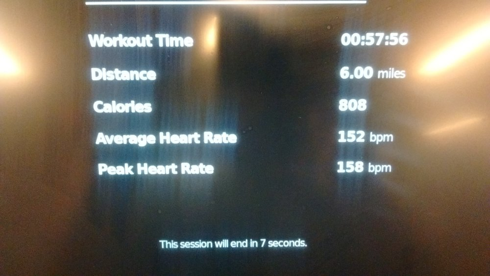 My last cardio workout on the treadmill. Only planned on doing 4 miles but just pushed it instead.