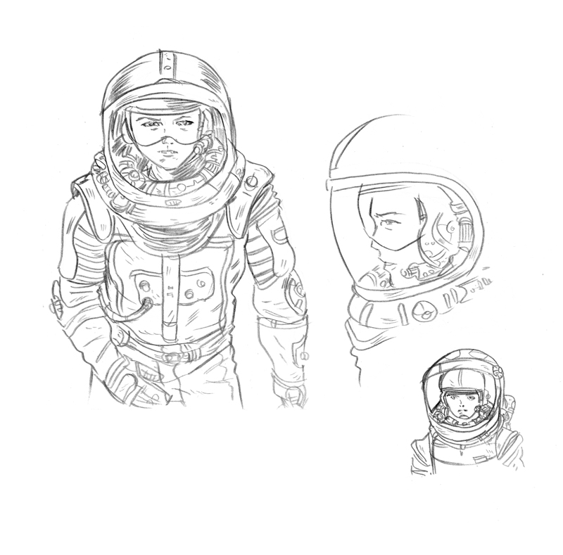 One concept for Alice's spacesuit.