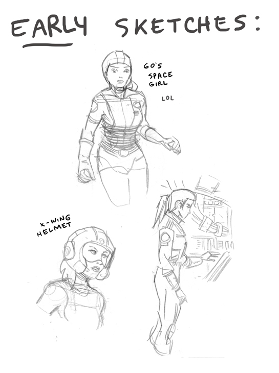 Additional explorations of Alice's costume. (I love the jotted 'LOL' next to '60s Space Girl Alice.)