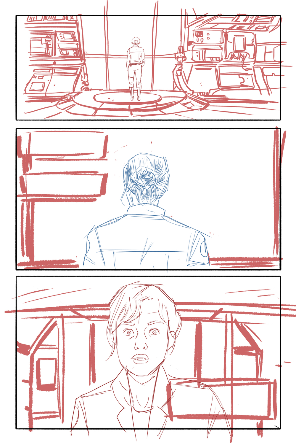 Rough layouts for the actual comic. I love that horrified expression on Alice's face in the third panel.