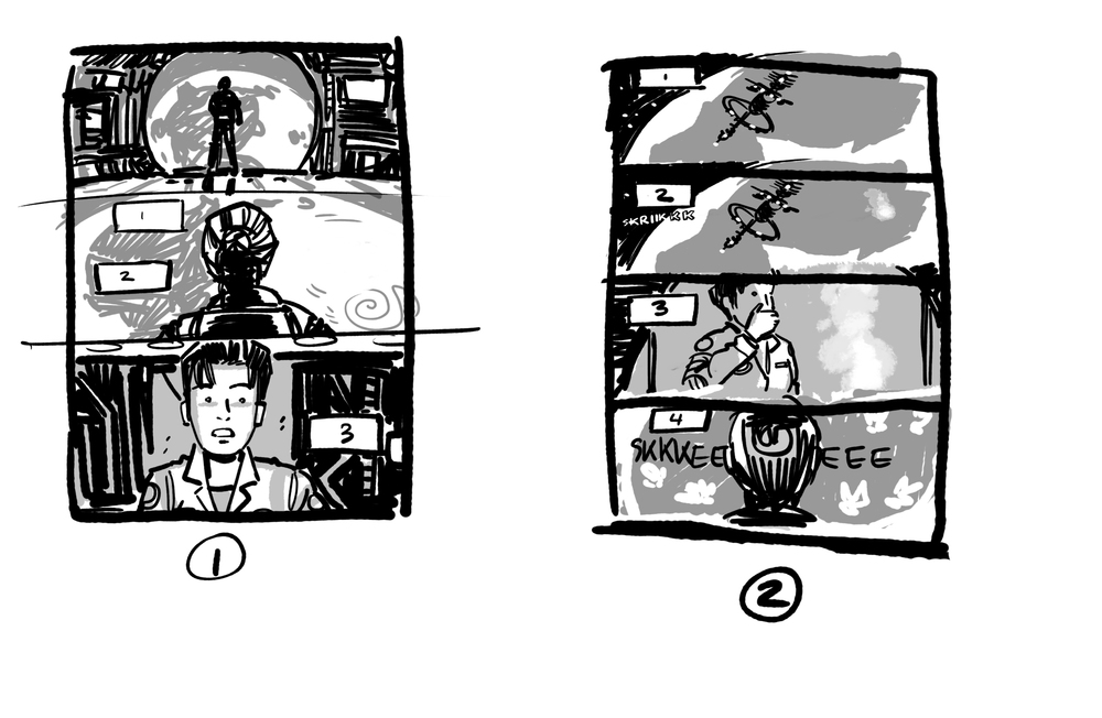 Thumbnail sketches of the scene where Alice watches the war happening far below.