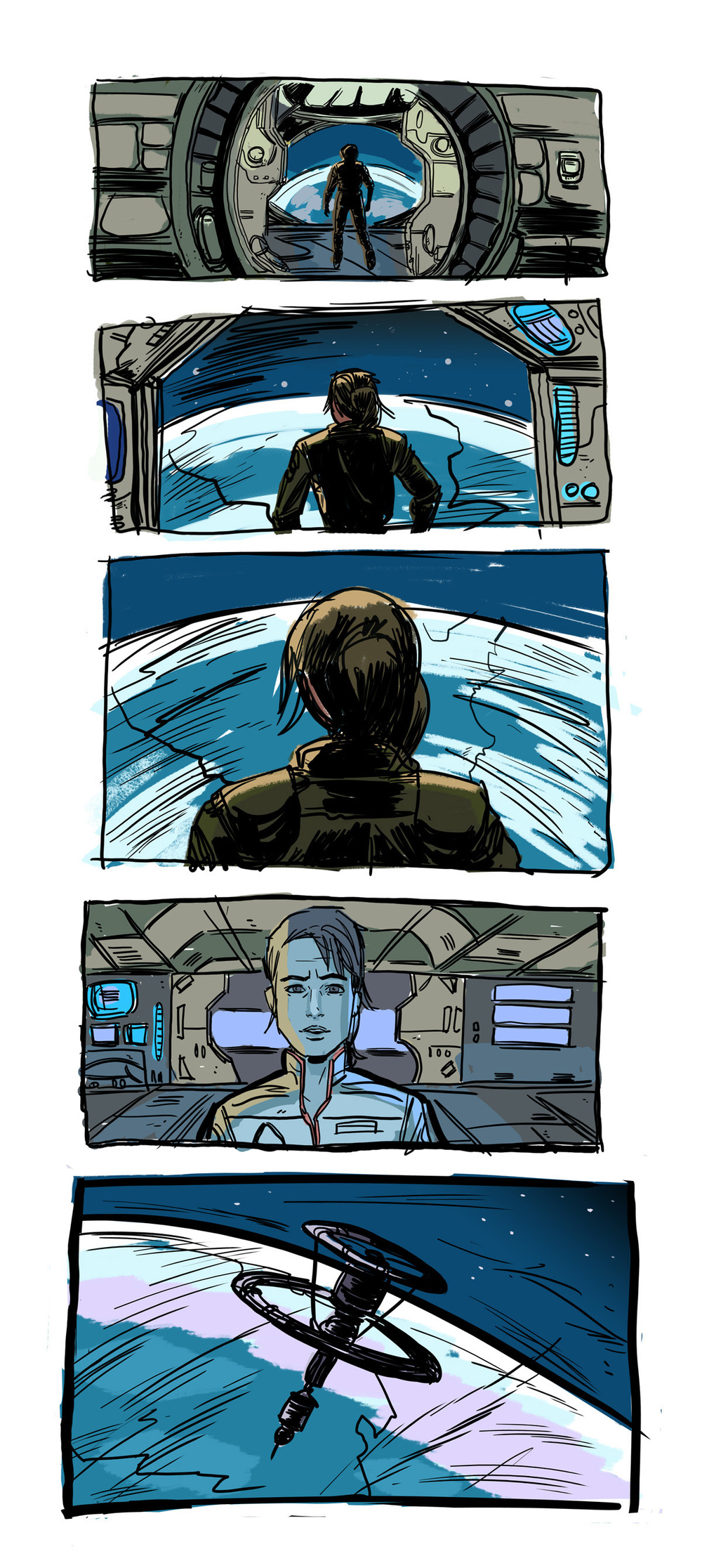 More rough layouts of the same scene, with an approximation of the tone and palette.