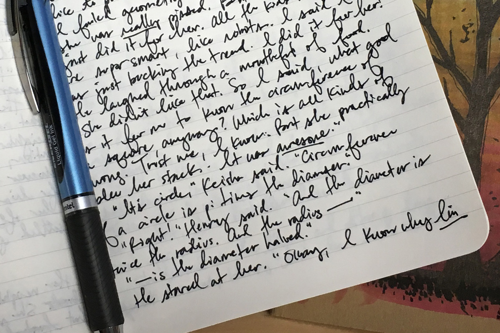 Up close and personal with my garbled handwriting.